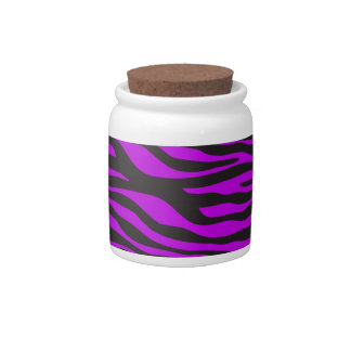 Animal Print, Zebra Stripes - Black Purple Candy Dishes