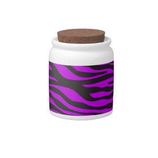Animal Print, Zebra Stripes - Black Purple Candy Dishes