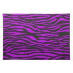 Animal Print, Zebra Stripes - Black Purple Cloth Placemat