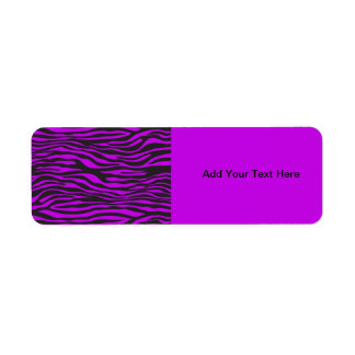 Animal Print, Zebra Stripes - Black Purple Return Address Label
