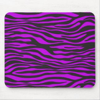 Animal Print, Zebra Stripes - Black Purple Mouse Pad