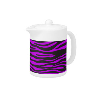 Animal Print, Zebra Stripes - Black Purple Teapot