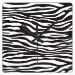 Animal Print, Zebra Stripes - Black White Clocks