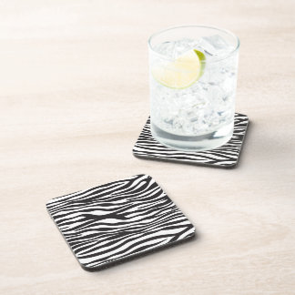 Animal Print, Zebra Stripes - Black White Coaster