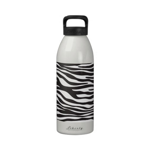 Animal Print, Zebra Stripes - Black White Water Bottle