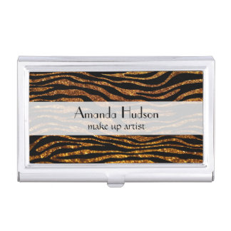 Animal Print, Zebra Stripes, Glitter - Black Gold Business Card Cases