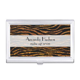 Animal Print, Zebra Stripes, Glitter - Black Gold Business Card Holder