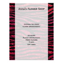 Animal Print, Zebra Stripes, Glitter - Black Red Flyer