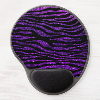 Animal Print, Zebra Stripes, Glitter - Purple Gel Mouse Pad