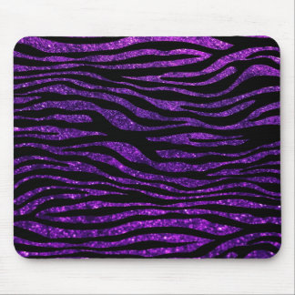 Animal Print, Zebra Stripes, Glitter - Purple Mouse Pad