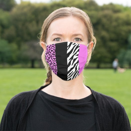 Animal Print, Zebra Stripes, Leopard Spots - Pink Cloth Face Mask