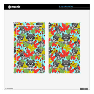 animal raccoon pattern decal for kindle fire