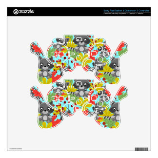 animal raccoon pattern PS3 controller decal