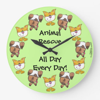 Animal Rescue All Day, Every Day! Cats and Dogs Large Clock