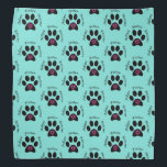 """Animal Rescue Bandana<br><div class=""""desc"""">This versatile bandana can be worn by you or your pet!  It promotes animal rescue by featuring a paw print with two hearts inside and the words adopt,  foster,  and rescue.</div>"""