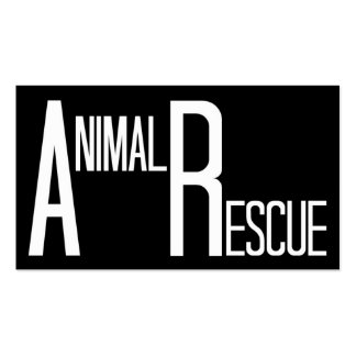 Animal Rescue Black and White Business Card Template
