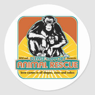 Animal Rescue Chimpanzee Classic Round Sticker