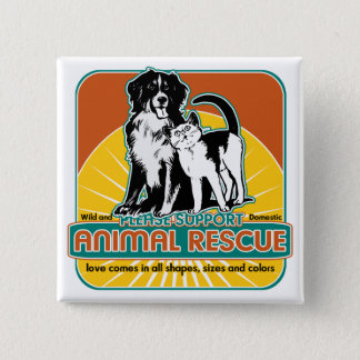 Animal Rescue Dog and Cat Button