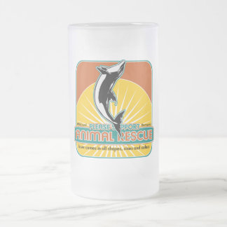Animal Rescue Dolphin 16 Oz Frosted Glass Beer Mug