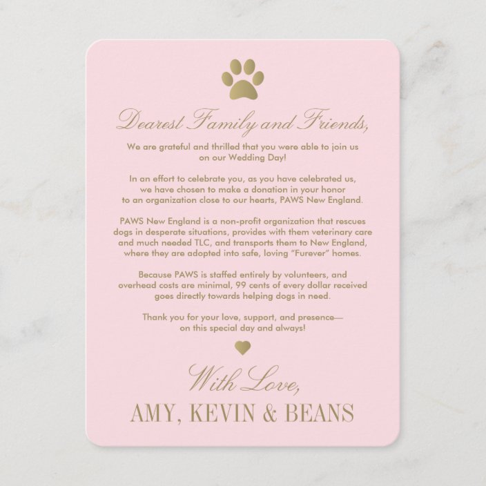 Animal Rescue Donation Card Paw Print