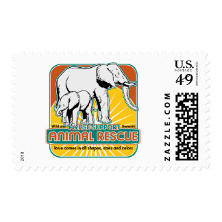 Animal Rescue Elephants Postage