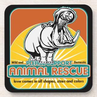 Animal Rescue Hippopotamus Drink Coaster