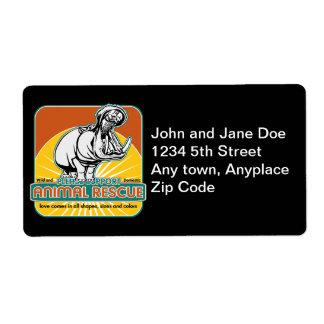 Animal Rescue Hippopotamus Custom Shipping Labels