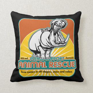 Animal Rescue Hippopotamus Throw Pillows