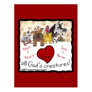 Animal Rescue-I love All God's Creatures Postcard