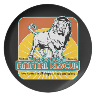 Animal Rescue Lion Melamine Plate