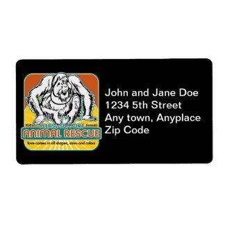 Animal Rescue Orangutan Personalized Shipping Label