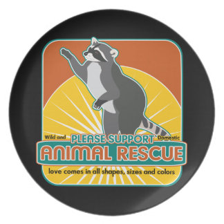 Animal Rescue Raccoon Dinner Plate
