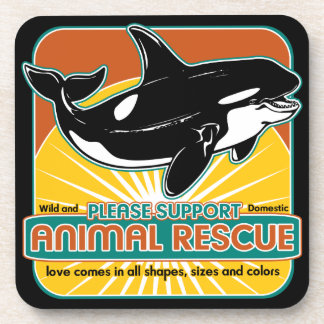 Animal Rescue Whale Beverage Coasters