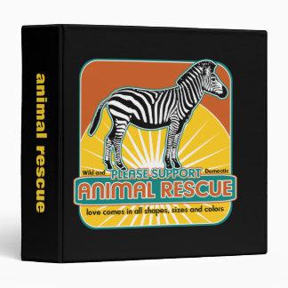 Animal Rescue Zebra Binder