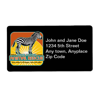 Animal Rescue Zebra Personalized Shipping Labels