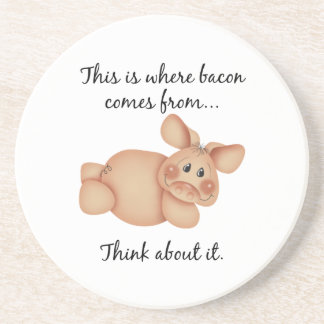 Animal Rights Pig Gift Beverage Coaster