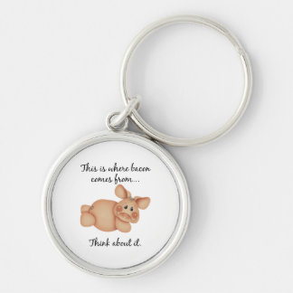Animal Rights Pig Gift Key Chain