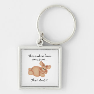 Animal Rights Pig Gift Keychain