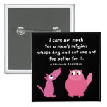 Animal Rights Quote Cute Cartoon Pets Customizable 2 Inch Square Button