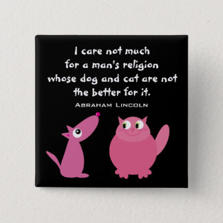 Animal Rights Quote Cute Cartoon Pets Customizable Button