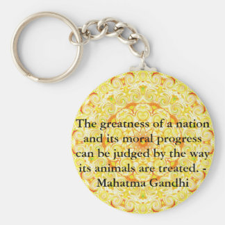 animal rights quote - Mahatma Gandhi Keychain