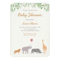 Animal Safari Baby Shower Invitation