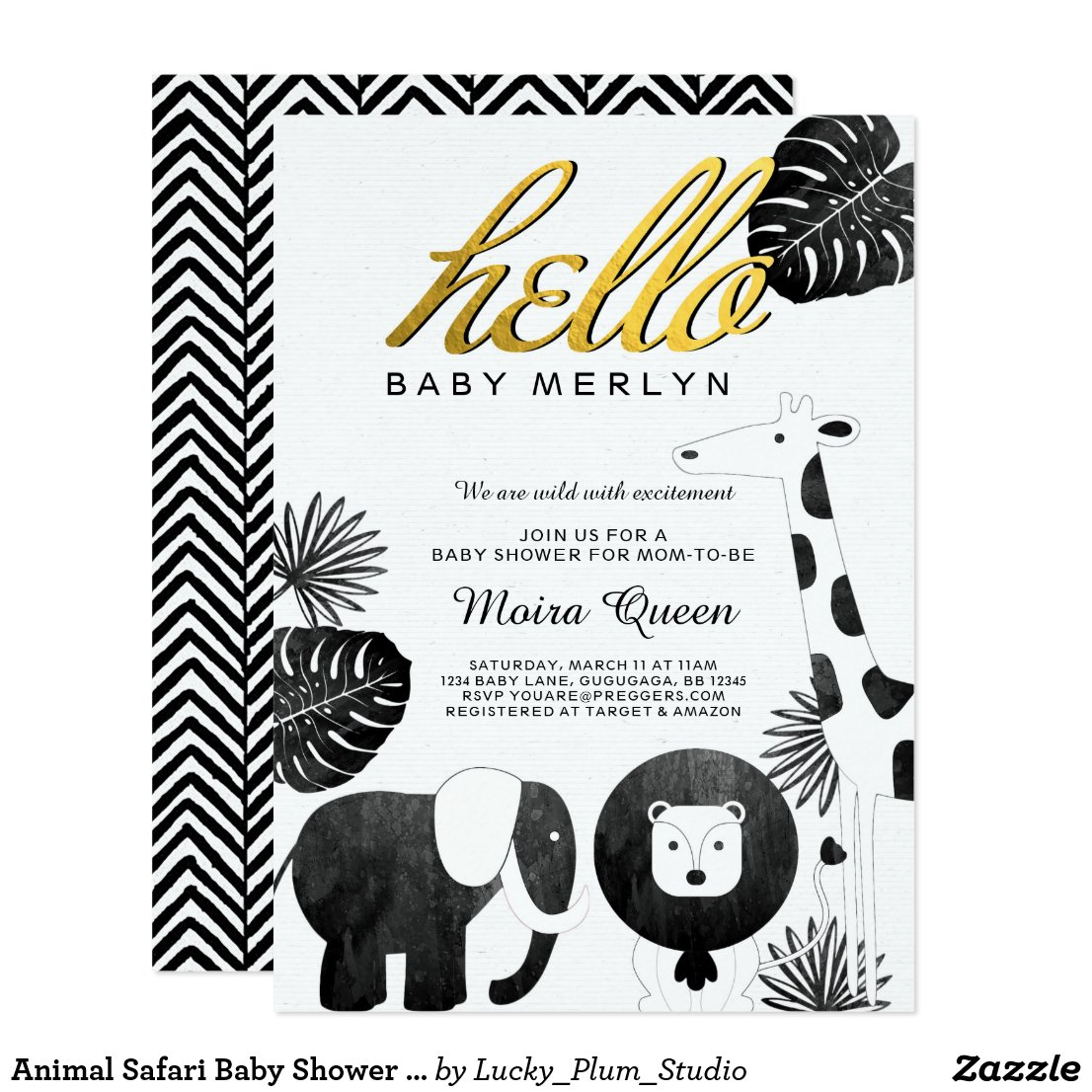 Animal Safari Baby Shower Invite