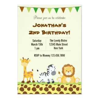 Animal Safari Birthday Party Invitation