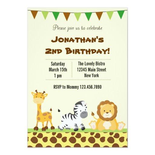 "Animal Safari Birthday Party Invitation 5"" X 7"" Invitation ..."