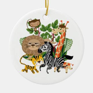 Animal Safari Double-Sided Ceramic Round Christmas Ornament