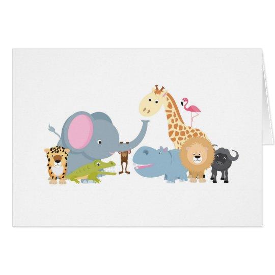 animal safari group white card