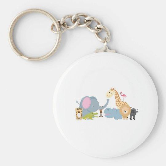 animal safari group white keychain