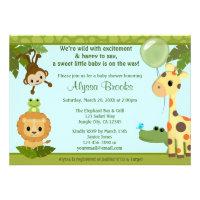 Animal SAFARI PARTY baby shower invitation monkey