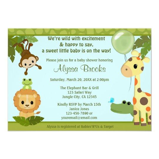 Animal safari party baby shower invitation monkey zazzle animal safari party baby shower invitation monkey filmwisefo